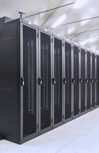 A row of data servers in a data centre.