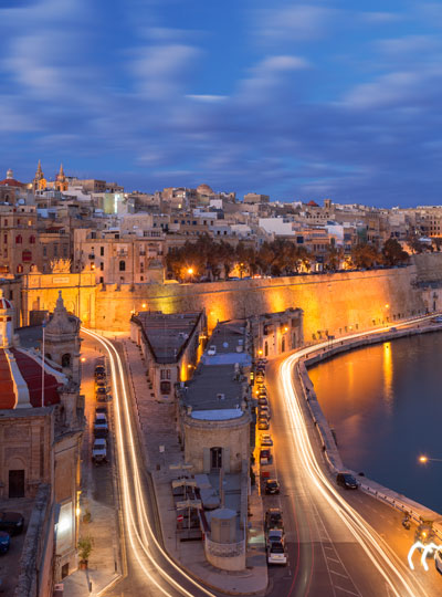 An image of Valletta outskirts at night.