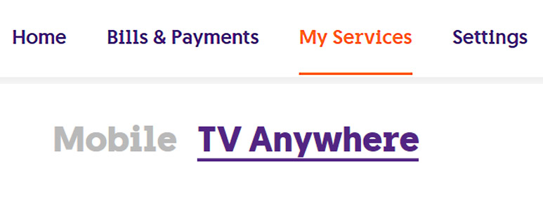 Click on TV Anywhere