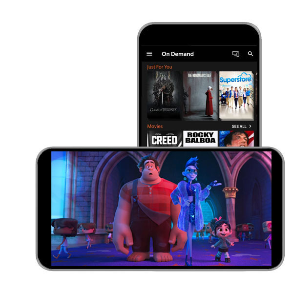 TV Anywhere shown on two mobile devices